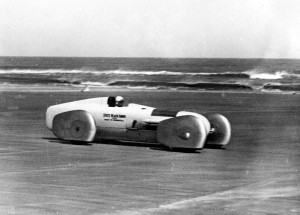 American racing motorist Frank Lockhart, before his attempt on the world land speed record, in his Stutz Black Bear on Daytona Beach, Florida, on April 25, 1928. Lockhart was killed in his attempt. (AP Photo)
