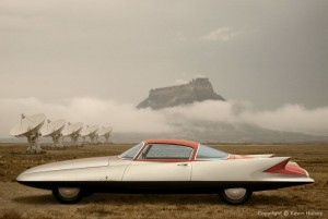 Photo-illustration of a Ghia Streamline X at the very large array, created by Kevin C. Hulsey